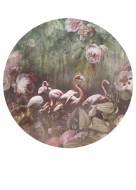 Behangexpresse Floral-Utopia Cirkel Flamingo Found Dark INK7609 Botanisch/Vogels