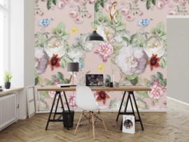 Behangexpresse Floral-Utopia Fotobehang INK7584 Sweet Rosa Pink/Bloemen/Vogels/Botanical