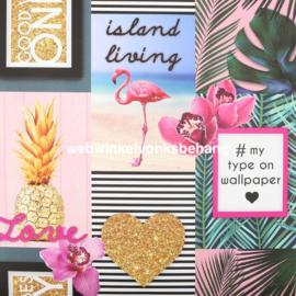 Noordwand Kids@Home Individual Behang 106843 Island Living/Tropical/Botanisch/Flamingo/Ananas