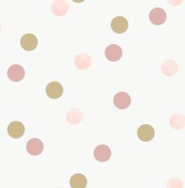 Noordwand Kids@Home Individual Behang 108565 Dotty Polka Pink American Gold/Stippen/Dots/Kinderkamer