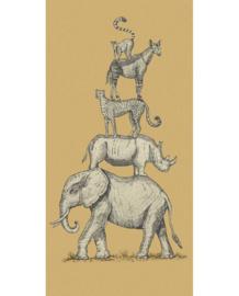 Eijffinger Mini Me Behang 399112 Safari Stack Ochre/Retro/Vintage/Kinderkamer/Dieren/Okergeel Fotobehang