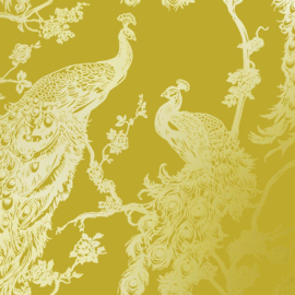 Dutch Wallcoverings Indulgence Behang 12962 Glistening Peacock Yellow/Pauw/Vogels