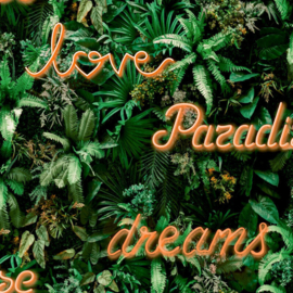 Noordwand Good Vibes Behang GV24211 Paradise Dreams/Botanisch/Neon Tekst