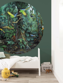 Kek Circle Tropical Landscape Green Behang CK-022 Fotobehang/Kek Kids Amsterdam/Kinderkamer