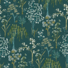 Dutch Wallcoverings First Class Utopia Behang 91131 Kieder Teal/Botanisch/Planten/Natuurlijk