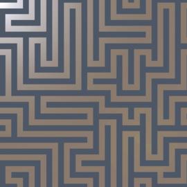 Dutch Wallcoverings Indulgence Behang 12913 Glistening Maze Navy/Labyrinth/Geometrisch