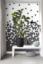 Esta Home Scandi Cool Fotobehang Black & White Triangles 158906 Modern/Driehoek/Zwart/Wit