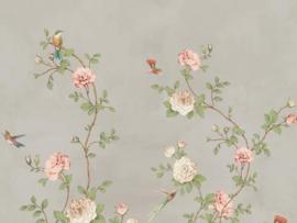 BN Wallcoverings/Voca Fiore Mural 200459 Rose Garden/Rozen/Vogels/Bloemen Fotobehang