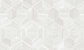 Arte Ligna Behang 42033 Hive/ Hexagon/Exclusief Wandbekleding zilver