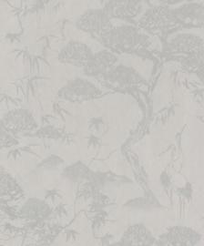 BN Wallcoverings/Voca Zen Behang 220274 Crane Dance/Kraanvogel/Bomen/Botanisch/Natuurlijk