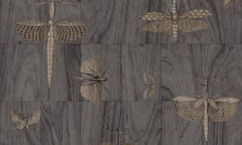 Arte Ligna Behang 42003 Hout/Insecten/Wings/Exclusief Wandtextiel