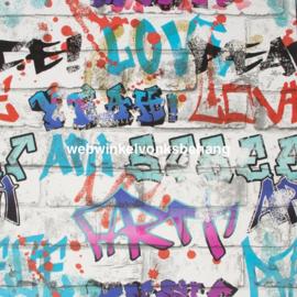 Noordwand Kids@Home Individual Behang 101686 Graffiti Multi/Steen/Verf/Modern/Kinderkamer