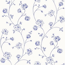 Esta Home Belle Rose Behang 115712 Bloemen/Romantisch/Blauw/Wit
