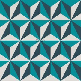 Origin Wunderkammer Behang 346-347449 Modern/3D effect/Turquoise