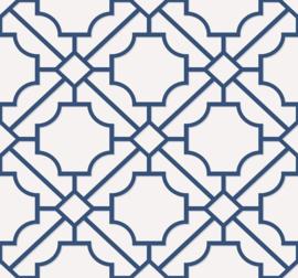 Dutch Wallcoverings Navy, Grey & White Behang BL70002 Modern/Grafisch/Geometrisch/Blauw