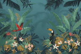 Komar Home Imagine Edition 4 Fotobehang XXL4-1013 Enchanted Jungle/Botanisch/Toekan/Papegaai