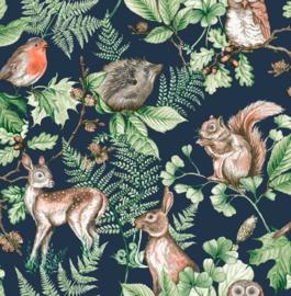 Noordwand Kids@Home Individual Behang 108568 Woodland Animals Navy/Dieren/Botanisch/Natuurlijk