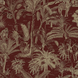 Dutch Wallcoverings Odyssee Behang L97110D Safari/Dieren/Botanisch/Bordeauxrood