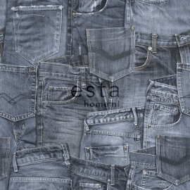Esta Home Denim & Co Behang 137737 Denim Blue/Tienerkamer/Spijkerbroeken/Blauw Behang