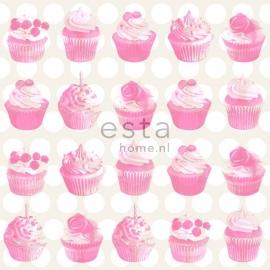 Esta Home Everybody Bonjour Behang. 137-138723 Kinder/Meisjes/Cupcakes