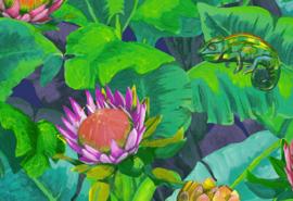 Hookedonwalls Breeze Behang BR24092 Amazones/Bloemen/Planten/Kameleon