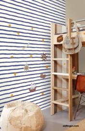 Eijffinger Wallpower Junior Behang 364000 Strepen/Kinderkamer/Blauw/Offwhite