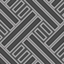Rasch Galerie Geometrix Behang GX37603 Geometrisch/Modern/Vlakken/Zwart/Zilver