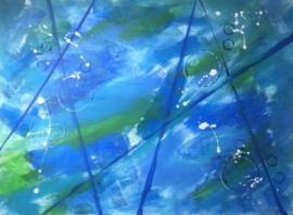 Schilderij 13/Kunst/Acryl/Modern/Strepen/Lijnen/Cirkels/Blauw/Groen