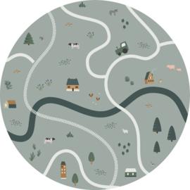 Esta Home Forest Friends Zelfklevende Behangcirkel/Circle 159068 Farm/Tractoren/Boerderij/Dieren