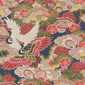 Rasch Kimono Behang 409352 Bloemen/Japan/Kraanvogels/Waaier
