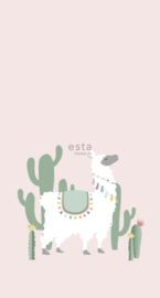 Esta Home Let's Play Behang 153-158926 Alpaca/Roze/Dieren/Kinderkamer Fotobehang