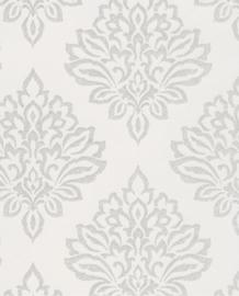 Eijffinger Salisbury Behang 355060 Barok/Ornament/Glitter/Zilvergrijs/Offwhite