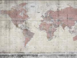 BN Wallcoverings BN Studio Fotobehang 200408 Concrete World/Wereldkaart/Map/Modern/Landelijk/Roze