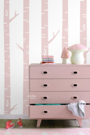 Esta Home Let's Play Fotobehang 158927 Birch Tree Pink/Berkenbomen/Roze/Kinderkamer