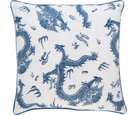 Rasch Kussen 200312 KL-H Dragon 01 Blau / Barbara Home collection