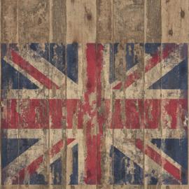 Noordwand Grunge Behang G45384 Union Jack/Vlaggen/UK/Engeland/Stoer/Hout