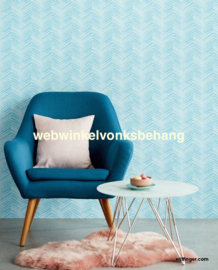 Eijffinger Stripes+  Behang 377094 Strepen/Chevron /Blauw/Mint