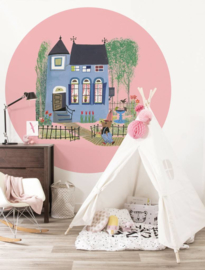 Kek Circle Bear with Blue House Behang CK-017 Fotobehang/Kek Kids Amsterdam/Kinderkamer