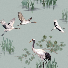 Dutch Wallcoverings/First Class Utopia Behang 91151 Heath Duck Egg/Kraanvogel/Vogels/Botanisch