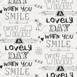 Noordwand Cozz Smile Behang 61166-06  Tekst/Smile/Lovely/Modern