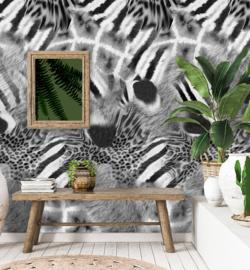 Behangexpresse Light & Dark Colorchoc Fotobehang INK7343 Wilde Animal/Bladeren/Woud/Botanisch