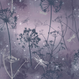 Arthouse Fantasia Behang 692306 Damselfly Purple /Planten/Natuur