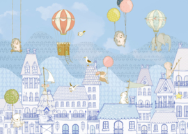 Komar Home Imagine Edition 4 Fotobehang X7-1001 Rooftop Ralley/Huizen/Daken/Ballon/Kids