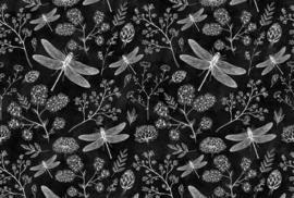 AS Creation Living Walls by Patel Fotobehang DD110342 Blackboard 8/Libelle/Botanisch/Zwart Behang