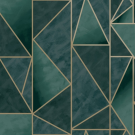 Dutch Wallcoverings/First Class Utopia Behang 91141 Charon Teal Gold/Grafisch/Modern/Lijnenspel