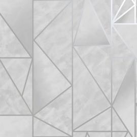 Dutch wallcoverings/First Class Utopia Behang 91140 Charon Grey Silver/Grafisch/Modern