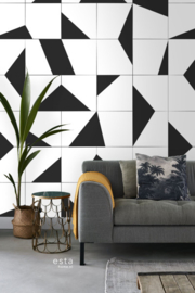 Esta Home Scandi Cool Fotobehang Black & White Tiles 158908 Modern/Tegel/Zwart/Wit