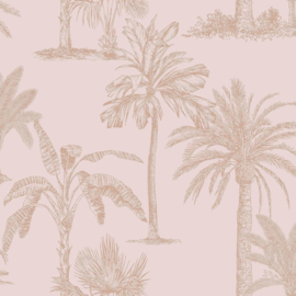 Dutch Wallcoverings Indulgence Behang 12822 Glistening Tropical Trees Blush Pink/Tropical