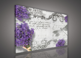 Canvas 1511O1 Lavendel/Tekst - Dutch wallcoverings