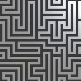 Dutch Wallcoverings Indulgence Behang 12912 Glistening Maze Black/Labyrinth/Geometrisch